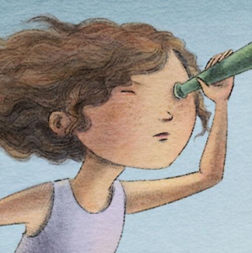 girl telescope adventure children art ACEO archival PRINT Little Explorer