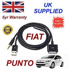 Fiat PUNTO LATEST blue&me 3gs 4 4s iPhone iPod USB Aux audio adapter cable Black
