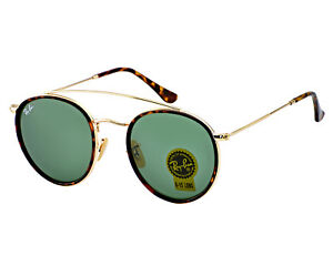 92989be2df9 Ray-Ban Round Double Bridge Gold Frame Green Classic G-15 Lenses ...