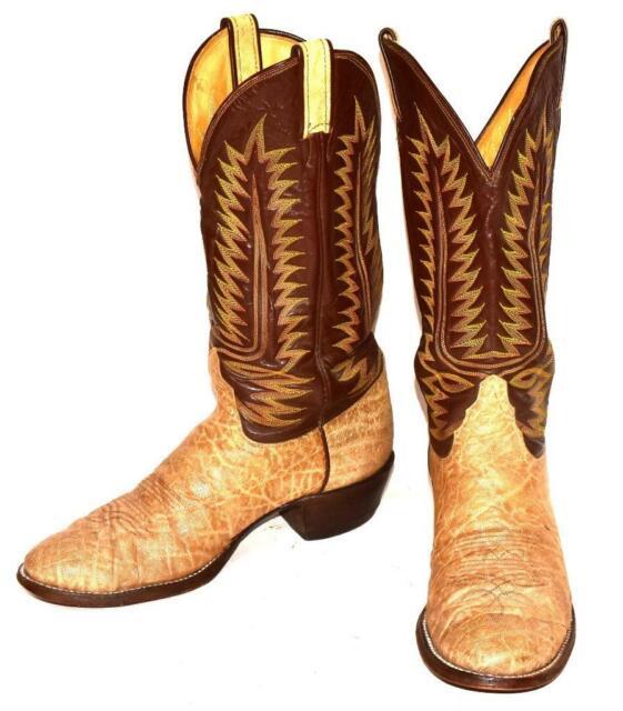 Vintage Tony Lama Tu-Tone Leather Genuine Bullhide Cowboy Western Boots Sz 9.5 D