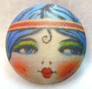 "1920s Flapper Girl Button Hand Printed Fabric "" Spit Curl "" FREE US SHIPPING"