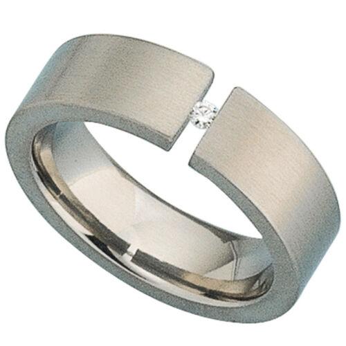 Titan anchura del anillo aprox 6,3 mm Anillo de mujer Titan mate 1 diamante brillante 0,03ct