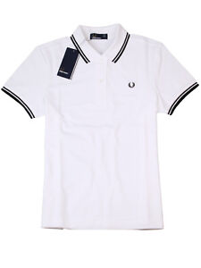 Fred-Perry-Damen-Polo-Shirt-G3600-205-Piquee-White-Black-Lorbeerkranz-7411
