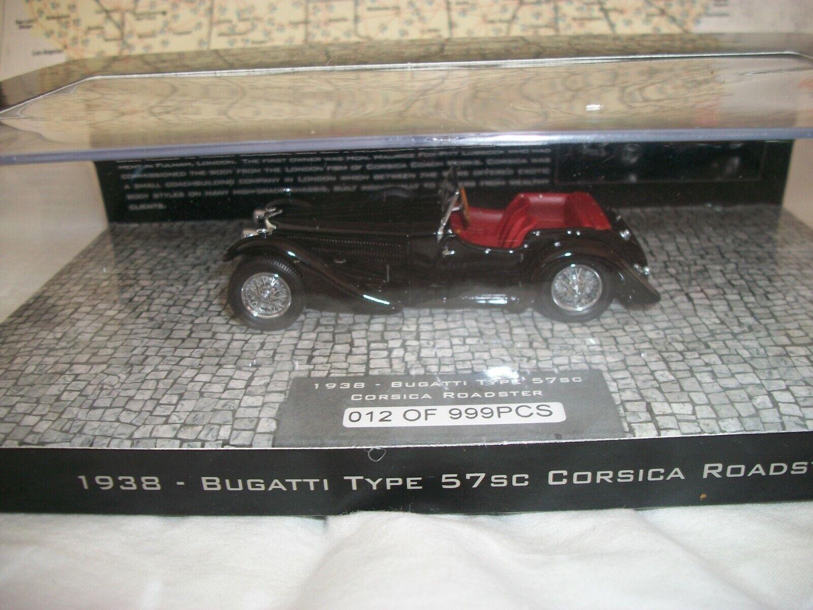 Minichamps negrohawk Museo 1938 Bugatti Tipo 57SC 1 43 escala 12 999 Nuevo en Caja