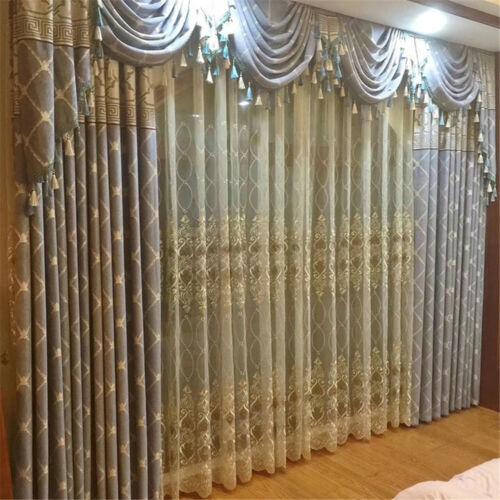 Luxury Flower Embroidered Transparent Sheer Voile Curtain Tulle European Elegant