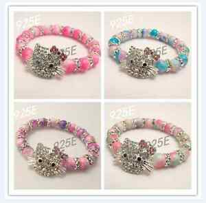c3df5a747 Image is loading TWO-TONE-SHAMBALLA-HELLO-KITTY-STYLE-BRACELETS-For-