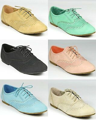 Stitched Lace Up Oxford Flat Galen-05 Black Beige Blue Green Pink