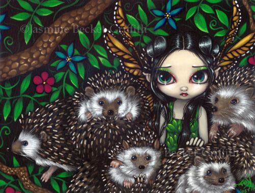 Jasmine Becket-Griffith art print SIGNED A Prickly Situation hedgehog fairy pop