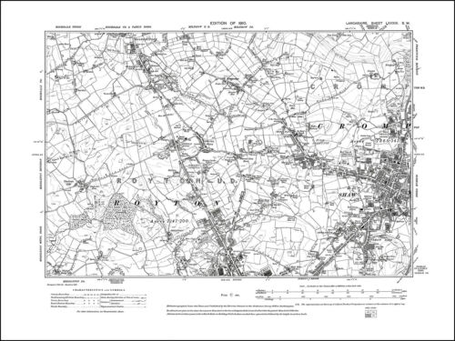 W W Old map of Crompton Lancs 1910: 89SW repro Shaw Royton N