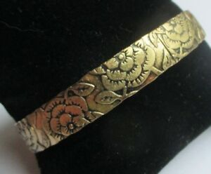 Charmant Bracelet Rigide En Cuivre Jaune Finement Gravé Bijou Vintage 5206 Apparence EsthéTique