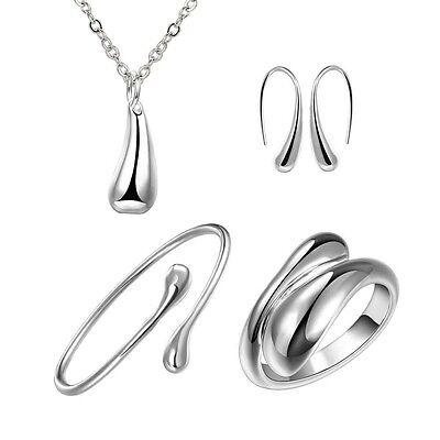 women 925 silver drop jewelry sets necklace bracelet bangle earring ring Gift