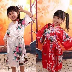 e6290ae5e Kids girls peacock gown satin kimono bathrobes flower girl bride s ...