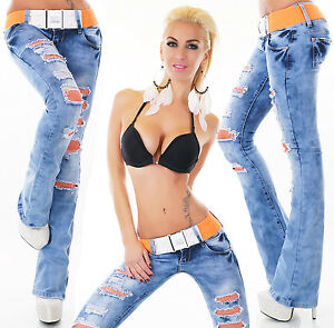 Sexy Women's Low Cut Hipster Bootcut Jeans Orange Lace Blue Jeans ...