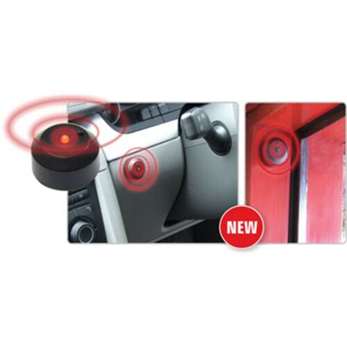 Negro y Rojo Intermitente LED Luz Coche Alarma Maniquí destellos con pilas Palo