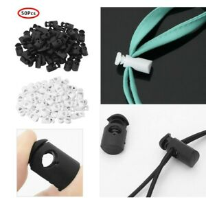 50x Toggle 2 Holes Spring Loaded Elastic Drawstring Rope Cord Lock Clip End US
