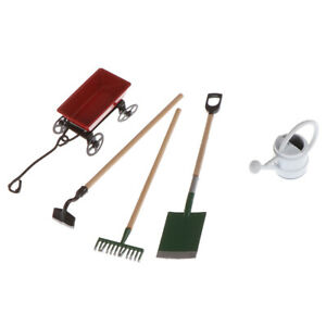1set-Dollhouse-Mini-Metal-Watering-Can-Pulling-Cart-Spade-Rake-Garden-ToolsJ-AU