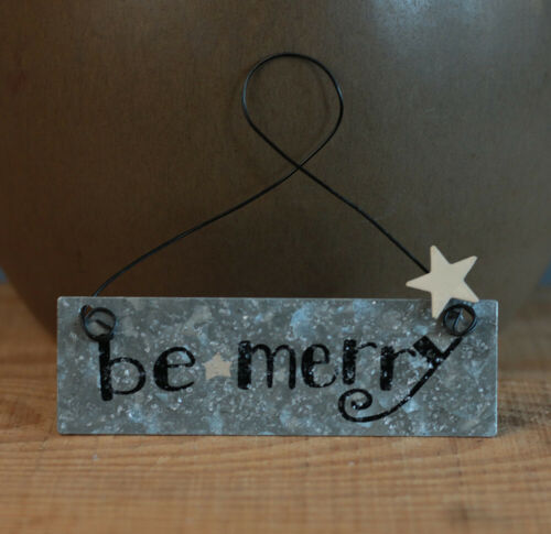 Be Merry Ornament Primitive Christmas Winter Decor Small Tin Sign 4 inches