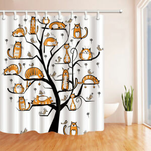 Beau Image Is Loading Cartoon Yoga Cat Shower Curtain Bathroom Decor Polyester
