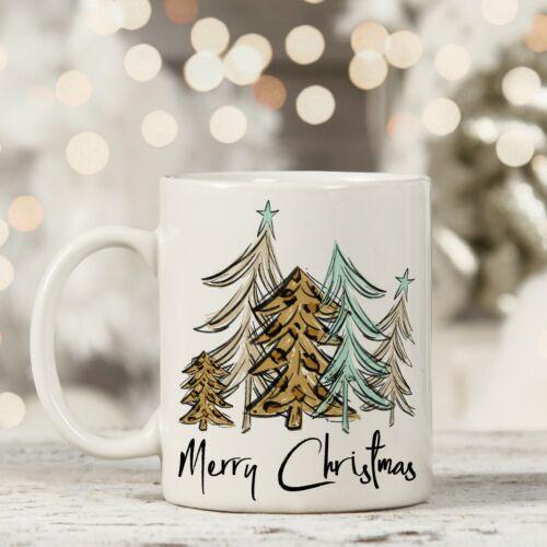 Merry Christmas Mug Leopard Print Christmas Trees Christmas Gift Mug Coffee Mug