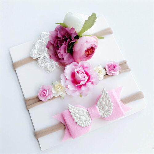 3Pcs//Set Newborn Baby Headband Flower Bows Lace Pearl Girl Elastic Hair Band