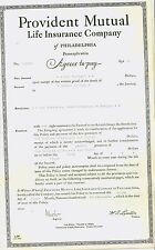 Vintage 1937 Certificate - Provident Mutual  Insurance Company - Life policy