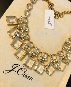 J-Crew-MIXED-GEM-STATEMENT-NECKLACE-Nwt-New-138-Crystal-With-J-Crew-Bag