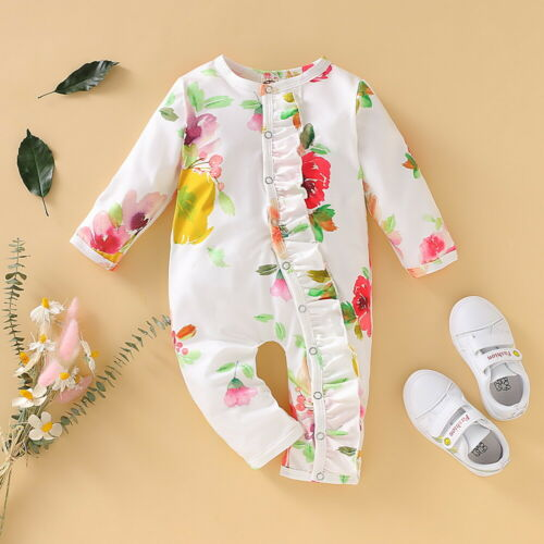 Newborn Baby Girl Ruffle Floral Romper Bodysuit Jumpsuit Playsuit Clothes Outfit