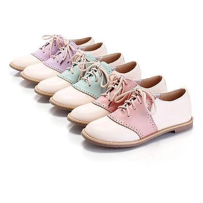 NC Round Toe Lace Up Lady Oxford Lolita Flats Shoes Sweet Korean Roman Shoes SZ