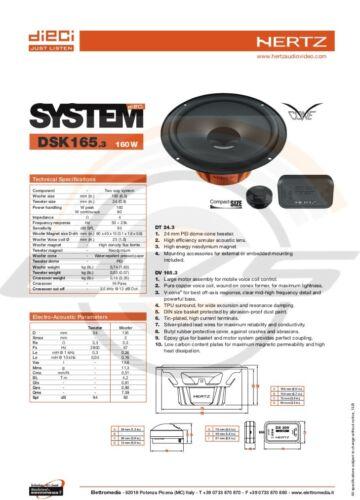 DSK 165.3 Kit 4 Casse Altoparlanti HERTZ Peugeot 308 Anteriori con Adattatori