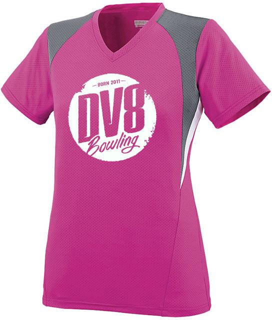 DV8 Women's Diva Performance Crew Bowling Jersey Shirt Dri-Fit Pink