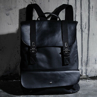 ByTheR Men's Fashion 1707 Leather Mix Backpack Handy UrbanChic Bag P000BIAS
