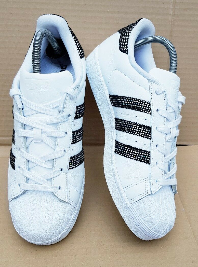 * Rare * Adidas Superstar Baskets taille 6 UK Blanc Disco Holographique Immaculée