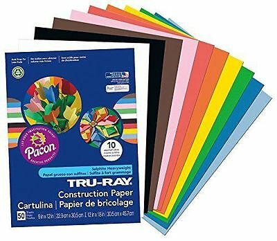 Pacon Tru-Ray Construction Paper, 9-Inches by 12-Inches, 50-Count, Assorted (...