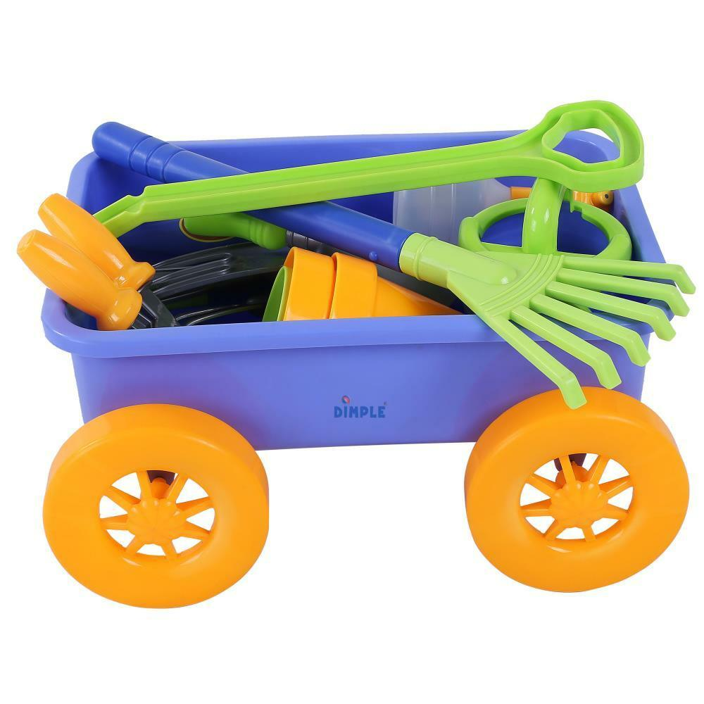 Dimple  Premium 15-Piece Gardening Tools & Wagon Toy Set - Sturdy & Durable