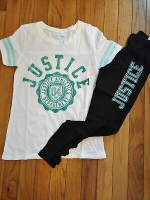 NWT Justice Girls Outfit Logo Football Top//Logo Cut Out Leggings Size 8 10