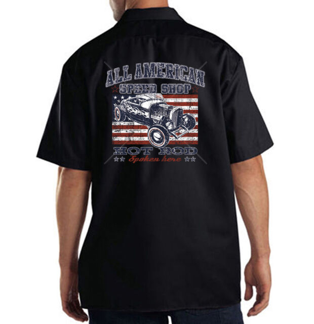 All American Speed Shop Hot Rat Rod USA Freedom Dickies Mechanic Work Shirt