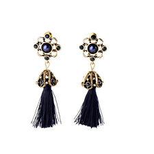 New Black Long Silk Tassel Drop Earrings Rhinestone Vintage Gold Filigree Flower