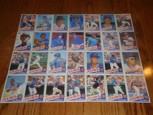 1985 Topps CHICAGO CUBS Team Set ~ RYNE SANDBERG 28 Cards