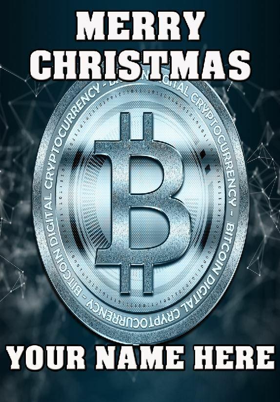 Bitcoin criptodivisa felicitación de Navidad A5 Tarjeta Personalizada Cualquier Nombre AN59