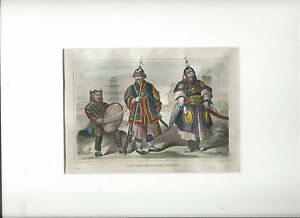 1840-Antique-Steel-Engraving-of-CHINA-Chinese-Military-Costumes