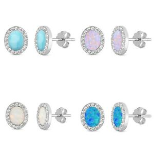 Natural-Larimar-Opal-and-Cz-Oval-Stud-925-Sterling-Silver-Earrings