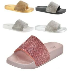 d9e420a9ff9e03 Womens Ladies Slip On Sparkly Diamante Bling Sliders Summer Sandals ...
