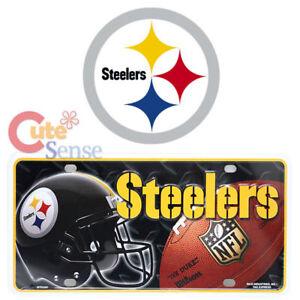 064fe2ae6fab7 Image is loading Pittsburgh-Steelers-License-Plate-Metal-NFL-Helmet-Logo-