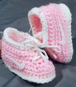 Custom Design Handmade Crochet Running Tennis Gym Shoe Baby Booties Pink