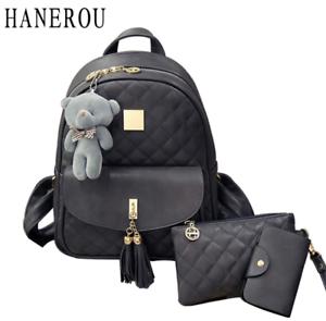 283298bd03 3 Pcs Bear Backpack Diamond Lattice For Girls Backpacks For Women ...