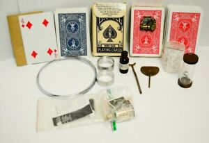 AS-IS-Vtg-Magic-Trick-Parts-LOT-Mechanical-Wind-Up-Jumbo-Card-Rise-Deck-Puzzle