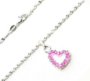 925-Sterling-Silver-Women-039-s-Link-Chain-20-034-Necklace-Pink-Crystal-Heart-GiftPkg