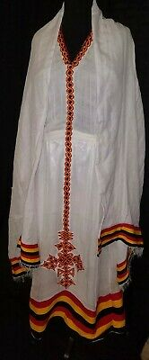 traditional embroidered Ethiopian Habesha dress 2 piece 100% cotton Oromo  theme | eBay