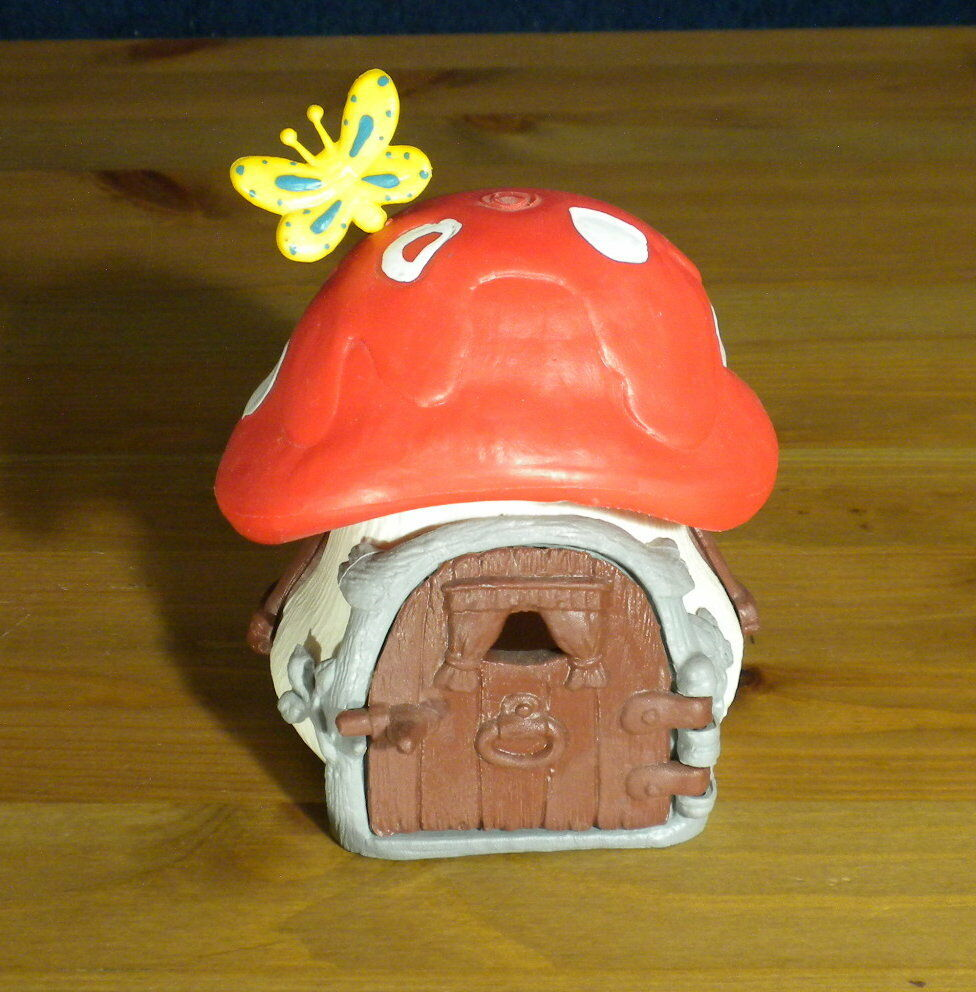 Smurfs ROT Mushroom House Rare Smurf Cottage Vintage Toy Lot Playset Farm 40011