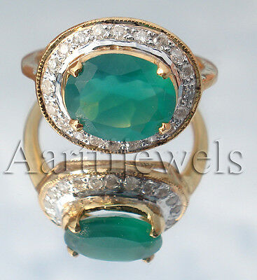 0.50ct Diamond Emerald 14k Yellow Gold Wedding Ring Christmas Season